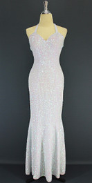 A Long Handmade Sequin Dress, In 8mm Cupped White Transparent Sequins front view