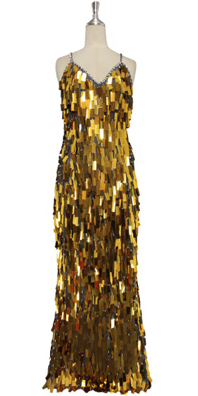 A long handmade sequin dress, in rectangular bullion gold paillette sequins with silver faceted beads front view