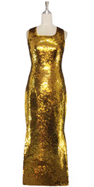 The Gold Bullion Gown. A long handmade sequin dress, in 10mm fishscale liquid gold sequins front view