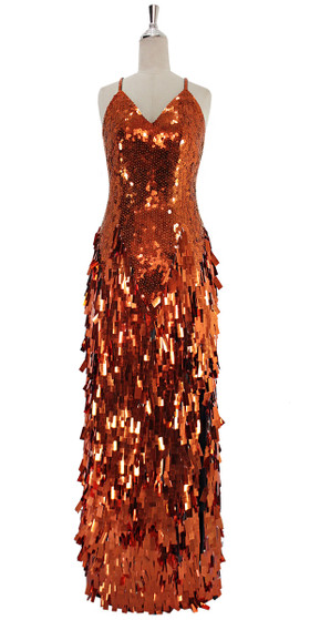 A long handmade sequin dress, in 10mm flat metallic sequins on the bodice and paillette rectangle sequins in copper front view