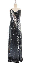 A long handmade sequin dress, in 10mm black sequins on the bodice and silver sequins front view
