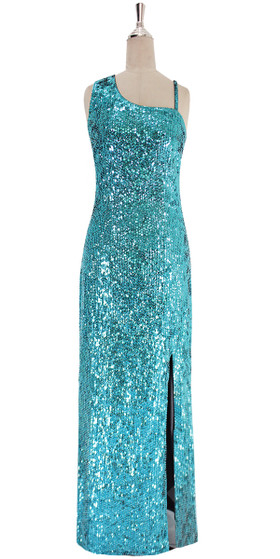 A long handmade sequin dress, in 8mm classic turquoise cupped sequins front view