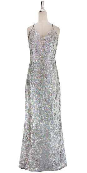A long handmade sequin dress, in 8mm iridescent silver sequins front view