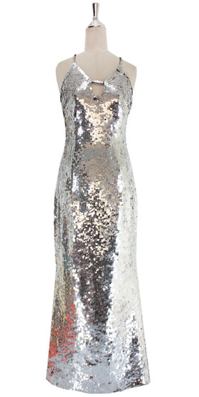 A long handmade sequin dress, in 10mm fishscale metallic silver sequins front view
