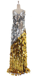 A long handmade sequin dress, in rectangular paillette metallic silver and gold sequins front view