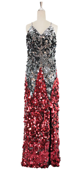 A long handmade sequin dress, in metallic silver and red paillette sequins front view