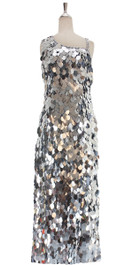 A long handmade sequin dress, in paillette metallic silver sequins front view