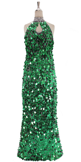 A long handmade sequin dress, in paillette emerald green sequins front view