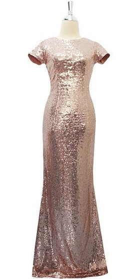 Long Dress In Gold Sequin Spangles Fabric With A Cowl Back in Front View