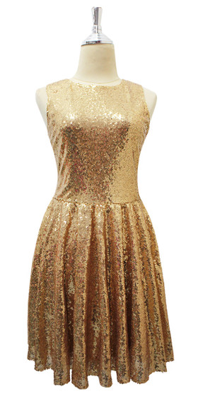 Short Gold Sequin Fabric Dress Front View