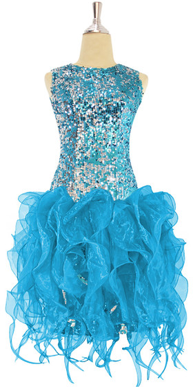 Short Turquoise Sequin Fabric Dress With Turquoise Strips Ruffle Skirt
