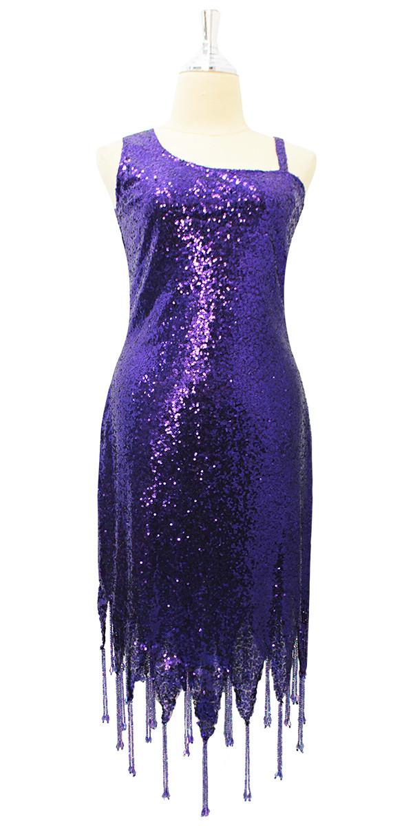 Purple Sequin Short Dress