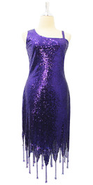 Short Dark Purple Sequin Fabric Dress With Jagged Beaded Hemline