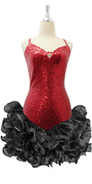 Short Red Sequin Fabric Dress With Black Ruffle Skirt