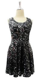 In-Stock Short Sequin Fabric Dress In Black