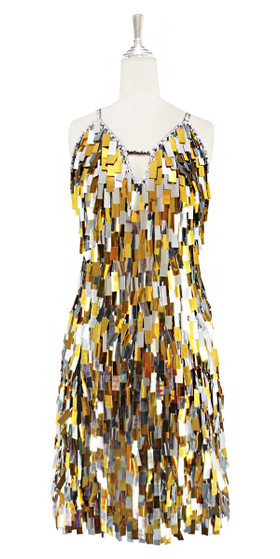 A short handmade sequin dress, in rectangular mixed metallic silver and gold paillette sequins dress front view