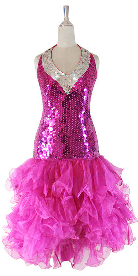Short Hand Made Sequin Dress In Fuchsia And Silver With Fuchsia Ruffle Skirt