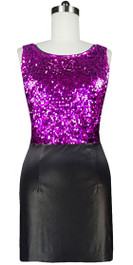 Short Metallic Fuchsia Sequin Fabric With Black Stretch Fabric Dress