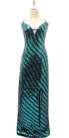 Long Handmade Dress In 8mm Green Black And Blue Sequins