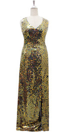Long Handmade Dress In 8mm Metallic Gold And Hologram Black Sequins