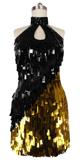 A short handmade sequin dress, in rectangular Black and Gold paillette sequin dress in front view