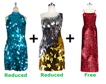 Buy Two Short Handmade Sequin Dresses With Discounts On Both And Get One Long Express Sequin Dress Free (SPCL-007)
