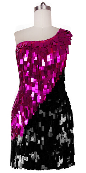 Short Handmade Rectangle Paillette Sequin Dress in Fuscia and Black with One-shoulder Cut front view