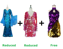 Buy One Long Handmade Sequin Dresses And One Short Handmade Dress With Discounts And Get One Short Handmade Sequin Dress Free (SPCL-017)