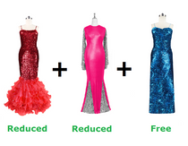 Buy Two Long Sequin Fabric Dresses With Discounts And Get One Long Sequin Fabric Dress Free (SPCL-018)