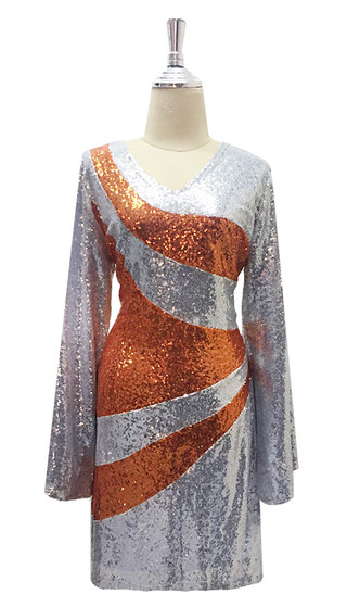 Short Sequin Fabric Dress IN Silver And Copper With Sleeves (7001-521)