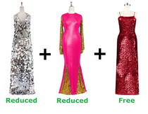 Buy One Long Handmade Sequin Dress And One Long Sequin Fabric Dress With Discounts And Get One Short Sequin Fabric Dress Free (SPCL-022)