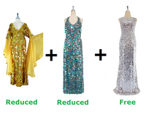 Buy Two Long Handmade Sequin Dress With Discounts And Get One Long Silver sequin Fabric Dress Free (SPCL-026)