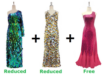 Buy Two Long Handmade Sequin Dress With Discounts And Get One Long Red sequin Fabric Dress Free (SPCL-027)