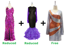 Buy 1 Long Fuchsia Paillette Handmade Dress & 1 Long Sequin Fabric Dress With Ruffle Hemline With Discount Each And Get 1 Short Sequin Fabric Dress Free (SPCL-031)