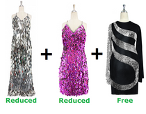 Buy 1 Long & 1 Short Handmade Sequin Dresses With Discount On Each And Get 1 Short Sequin Fabric Dress Free (SPCL-038)