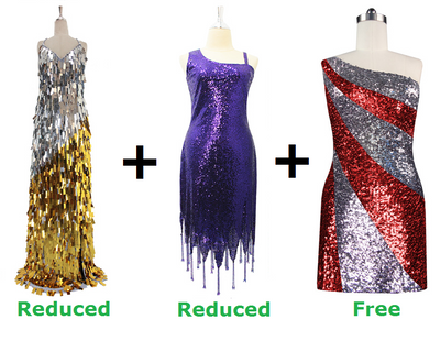 Buy Long Handmade & 1 Short Sequin Fabric Dress With Discounts On Each And Get 1 Short Sequin Fabric Dress Free (SPCL-040)