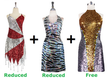Buy 2 Short Handmade Dresses With Discounts On Each And Get 1 Short Sequin Fabric Dress Free (SPCL-041)