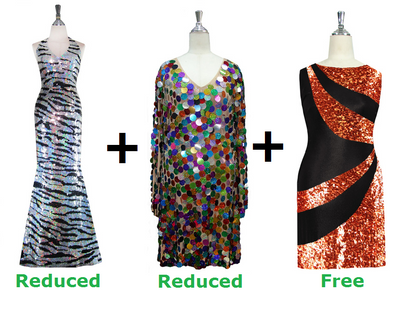 Buy 1 Long Handmade Sequin Dress & 1 Short Handmade Sequin Dress With Discounts On Each & Get 1 Short Sequin Fabric Dress Free (SPCL-044)