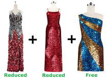 Buy 1 Long Handmade & 1 Long Sequin Fabric Dress With Discounts On Each & Get 1 Short Sequin Fabric Dress Free (SPCL-045)
