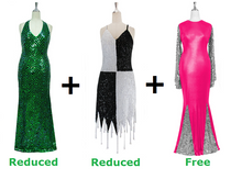 Buy 1 Long Handmade Sequin Dress & 1 Short Handmade Sequin Dress With Discounts On Each & Get 1 Long Sequin Fabric Dress Free (SPCL-046)