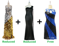 Buy 1 Long Handmade Sequin Dress & 1 Long Velvet With Sequin Dress With Discounts On Each & Get 1 Short Sequin Fabric Dress Free (SPCL-047)