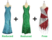 Buy 2 Long Handmade Sequin Dress With Discounts On Each & Get 1 Short Handmade Sequin Dress Free (SPCL-048)
