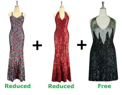 Buy 2 Long Handmade Sequin Dress With Discounts On Each & Get 1 Short Handmade Sequin Dress Free (SPCL-049)