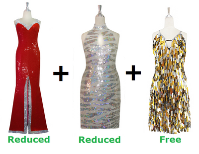Buy 2 Long Handmade Sequin Dress With Discounts On Each & Get 1 Short Handmade Sequin Dress Free (SPCL-050)