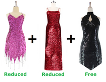 Buy 1 Short Handmade & 1 Long Sequin Fabric Dress With Discounts On Each & Get 1 Short Sequin Fabric Dress Free (SPCL-052)
