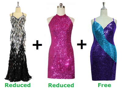 Buy 1 Long And Short Handmade Sequin Dress With Discounts On Each & Get 1 Short Sequin Fabric Dress Free (SPCL-054)