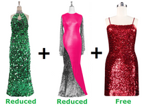 Buy 1 Long Handmade Sequin Dress & 1 Long Sequin Fabric Dress With Discounts On Each & Get 1 Short Sequin Fabric Dress Free (SPCL-057)