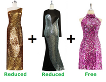 Buy Long Sequin Fabric Dress With Discounts On Each & Get 1 Short Sequin Fabric Dress Free (SPCL-058)