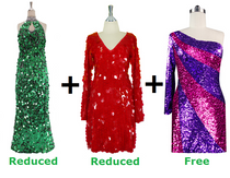 Buy 1 Long Handmade & 1 Short Handmade Dress With Discounts On Each & Get 1 Short Sequin Fabric Dress Free (SPCL-062)