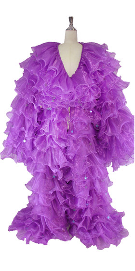 In-Stock Long Purple Organza Ruffle Coat with Long Sleeves and Highlight Sequins (STL2018-007)